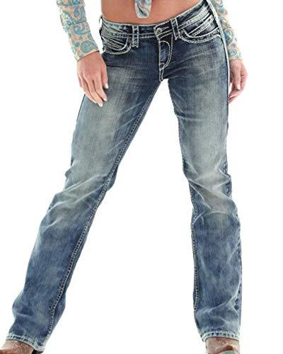Mujer Rectos Vaqueros Anchos Push Up Boyfriend Jeans Retro Rotos Elasticos Pantalones
