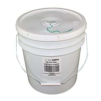 SGT KNOTS Poly Pull Line - 210 Pound Bucket & Reusable Lid for Power Fishing Systems Sport Fishing Conduit Pulling & More  6500ft Green