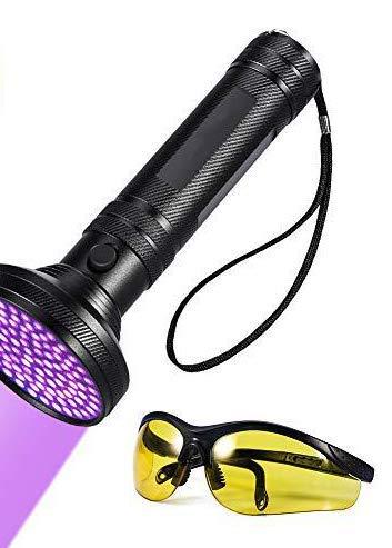 UV Schwarzlicht Taschenlampe - UV Taschenlampe Schwarzlicht 100 LEDs 395nm Ultraviolet Lampe mit UV-Schutzbrille Für Haustierurin Führerschein, amtlicher Personalausweis, Reisepass.