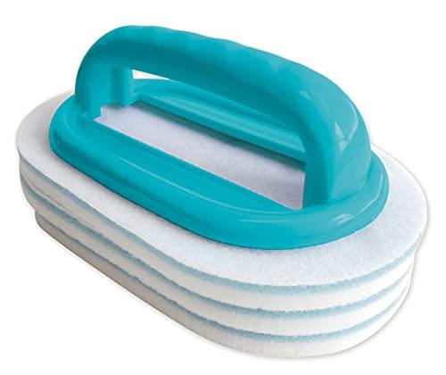 Bayrol Handbürste mit 3 austauschbaren Reinigungspads - Handliche Spezialbürste für eine gründliche & einfache Poolreinigung - Besonders effizient in Verbindung mit Randfix