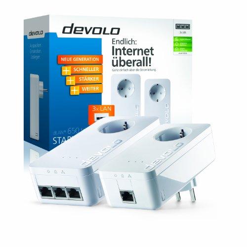 Devolo dLAN 650 triple+ Starter Kit PowerLAN-Adapter (600 Mbit/s, 2 Adapter im Set, 3x GB LAN Port, Steckdose, Datenfilter, Netzwerk, Powerline) weiß