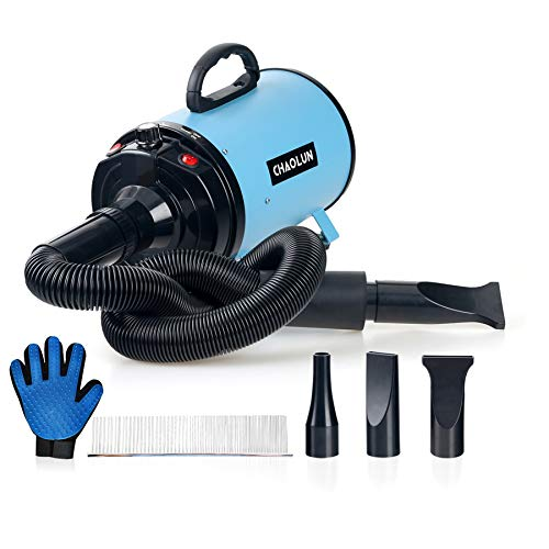 CHAOLUN Dog Dryer High Velocity Professional Pet Dog Blow Dryer 3.2HP - Dog Hair Grooming Dryer with Heater, Stepless Adjustable Speed, 3 Different Nozzles, a Comb and a Shower Massage Glove, Sky