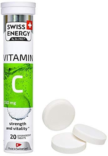 Swiss Energy, Vitamin C 550 mg, Lemon Flavor, Strength and Vitality, 20 effervescent Tablets