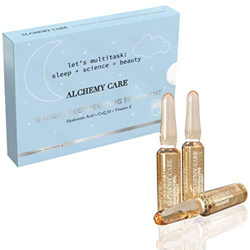 Alchemy Care- Ampollas Faciales con Acido Hialurónico, Coenzima Q10 y Vitamina E- Tratamiento Regenerante de 10 noches - Fabricadas en España. PRECIO INTRODUCTORIO