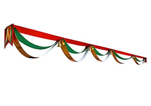 Décor Rideau Noël Bunting Bannière suspendue Décorations Bricolage Banderoles de Joyeux Noël motif de dentelle dorée Drapeau et Ruban de Noël 5 mètres avec 5 fleur de vagues