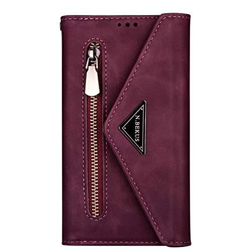 Miagon für Samsung Galaxy A32 5G Crossbody Reißverschluss Hülle,Brieftasche Geldbörse Handtasche mit Schulterriemen Flip Kartenhalter Ständer PU Leder Cover