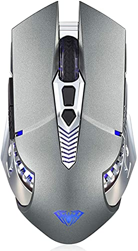 Bluetooth Mouse for Laptop, Rechargeable Wireless Mouse Multi Device(3-Mode:BT 5.0/3.0+2.4G) with LED Light, Side Buttons, Ergonomic Cordless Computer Gaming Mice for PC/MacBook Pro/iPad - Gray
