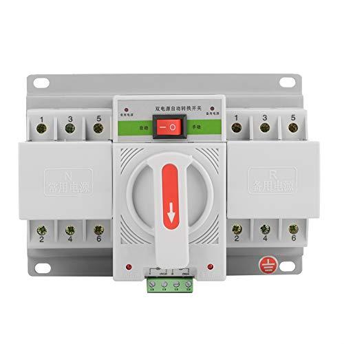 Circuito Interruptor Automático, 230V 63A 3P Mini Disyuntor Inteligente de Interruptor de Transferencia Automática de Doble Potencia Interruptor de Cambio Adecuado para Edificios de Oficinas