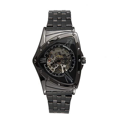 Armbanduhren Herren Dreieck Mechanische Uhr Business Mode Edelstahl Gürtel Lässig wasserdichte Uhr Schwarz 2