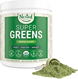 Nested Naturals Super Greens  Green Superfood Powder booster, Promote Energy & Vitality nutrient-rich superfoods | 30 Servings contain Spirulina, Wheat Grass, Barley, Probiotics, Fiber & Enzymes
