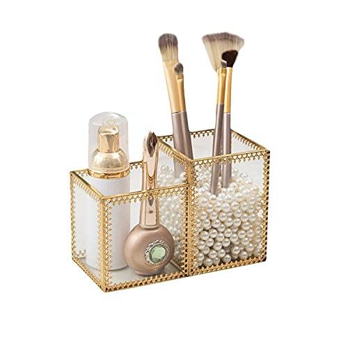 SLHEQING Glas Kosmetik Organizer Golden Vintage Makeup Organizer, Kosmetik Aufbewahrungsbox für Lippenstifte, Nagellack, Kosmetikpinsel (Gold + Transparent C)