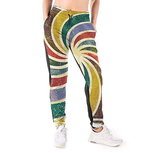 DOWNN Damen Sweatpants Abstrakt Regenbogen Windmühle Baggy Hose Jogger Hose mit Taschen 3D Active Leggings Gr. M, weiß