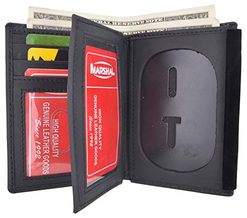 Marshal Genuine Cowhide Leather Badge RFID Wallet for Firefighters, Police etc.