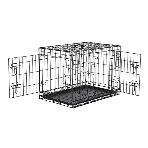 AmazonBasics Double-Door Folding Metal Dog or Pet Crate Kennel with Tray, 30 x 19 x 21 Inches