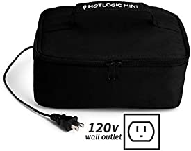 HOTLOGIC Food Warming Tote, Lunch Bag 120V, Black - Food Warmer and Heater – Lunch Box for Office, Travel, Potlucks, and Home Kitchen