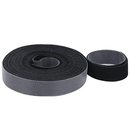 KNMY Bridas para cables, reutilizables de velcro, color negro, cinta resellable, se puede cortar a medida para auriculares USB, cable de esquí, nailon, 10 mm x 10 m
