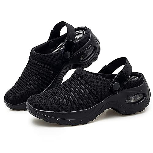 Mengyy Sandalias con Colchón De Aire, Zapatillas Ortopédicas Ligeras Y Transpirables, Zapatos para Caminar para Mujer Zapatos Sin Cordones para Mujer Ligeros Transpirables Cómodos (39,Black)