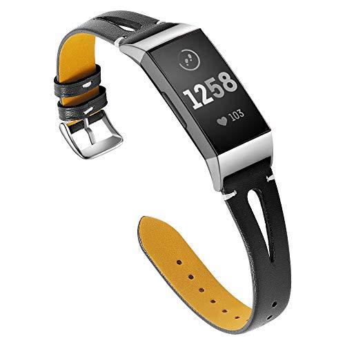 Aottom geschikt voor Fitbit Charge 4 / Fitbit Charge 3 Band Vrouwen Lederen Sweatproof Armband Polsband Sport Polsband Vervangende Band voor Fitbit Charge 4 / Lading 3 Fitness Tracker Accessoires Zwart
