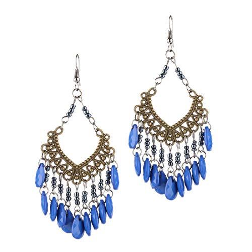 YAZILIND bohemia Vintage hueco tallado borlas dangle pendiente moda Boho pendientes para las mujeres niñas azul