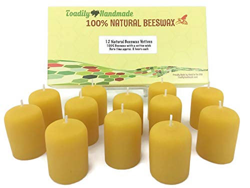 One Dozen (12) Hand Poured Solid Beeswax Votive Candles in Natural Wax - 100% Beeswax Candles by Toadily Handmade - Now Packaged in an Attractive Gift Box! - Made in The USA