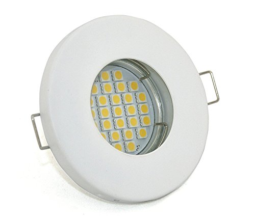 LED badkamer inbouwspots set 230V IP65 kleur wit mat incl. GU10 5Watt LED 2700Kelvin warm wit 450Lumen Lamp vervangbaar