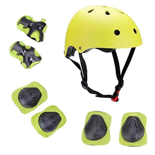 VOSAREA Sportschutzausrüstung Ellenbogenschoner Handgelenkschützer Knieschoner Ellbogenschützer mit Helm für Kinder Skateboard Rollschuhlaufen Ski Fahrrad Hellgrün S 7 Stück