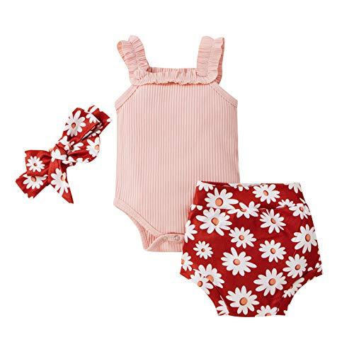 Taurner Bebé Niños Niñas Trajes de Verano Halter Romper Tanque Top Cordón Pantalones Cortos Set Ropa Acanalado + Floral Shorts Trajes (Rosa, 70)