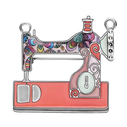 Wnkls Máquina De Coser Floral De Aleación De Esmalte Broches De Ropa Estética De La Ropa De La Bufanda para Las Mujeres Accesorios De Regalo del Partido (Color : Pink)