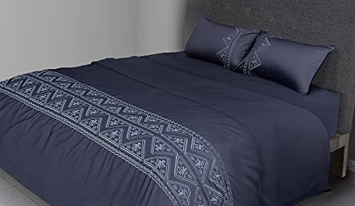 FLAX LINEN - Juego de funda de edredón de 4 piezas para cama de matrimonio de 400 hilos de algodón egipcio orgánico, incluye 1 funda de edredón + 1 sábana bajera + 2 fundas de almohada, color gris
