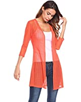 Grabsa Women Summer Sheer Lace Cardigan Beach Wear Swimsuit Bikini Cover up Orange