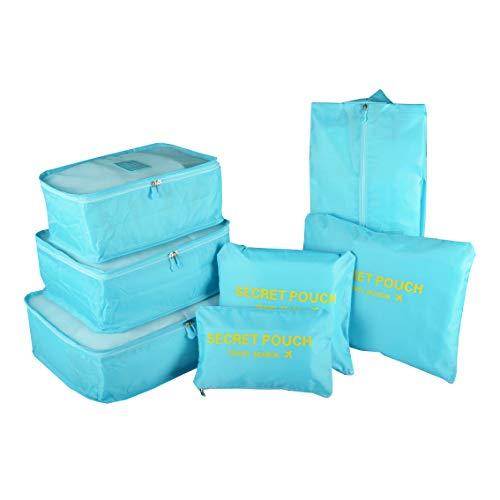 Organizador para Maleta/Equipaje, TOYESS 7 Set de Organizadores de Viajes, 3 Packing Cubes + 3 Compresion Bolsas + 1 Saco de Zapatos, Azul Claro