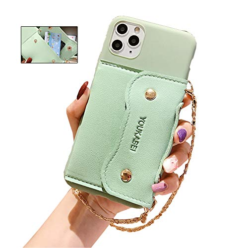 Funda para teléfono móvil compatible con Apple iPhone 11 Pro, carcasa de silicona, a prueba de golpes, diseño de bolso de mano, con cadena dorada para iPhone 11 Pro (verde)