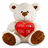 Tmacker Teddy Bear Stuffed Animals Plush Bear & Heart,Gifts for Her Girlfriend,Wife Valentines Day,Funny Gifts for Kids Women and Friends Mothers Day,Wedding,Birthday and Anniversary-10 Inch White