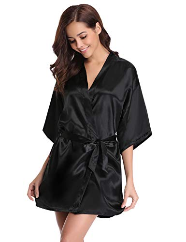 Abollria Kimono Mujer Bata para Satén Mujer Ropa de Dormir Batas Negro,S
