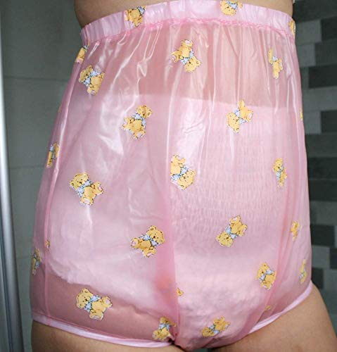 PVC Adult Baby Inkontinenz Windelhose Gummihose rosa transparent kindermotiv (L)