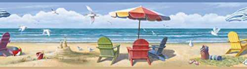 Chesapeake BBC46091B Lori Summer Beach Portrait Wallpaper Border, Blue