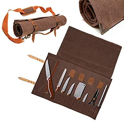 Western Style Chef Knife Roll Bag - Reinforced Brass Corner Protectors - 10 Pockets + Tool Pouch - Water Resistent Canvas Bag with Leather Trim - Padded Adjustable Shoulder Strap by
