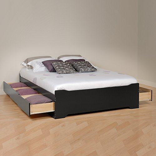 Prepac BBD-5600-3BV Coal Harbor Mates Full Platform Storage Bed with 6 Drawers, Black, Full