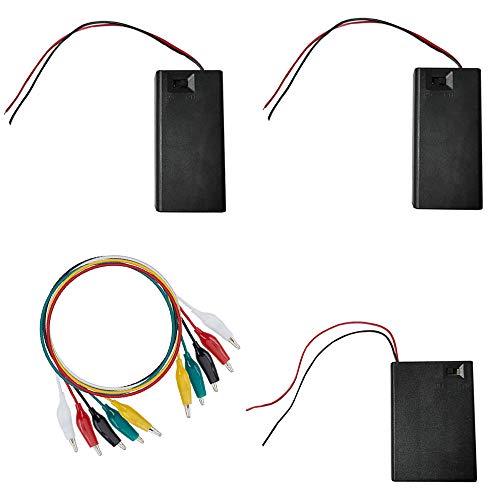 WJUAN 3 Pezzi Box Batterie, Box Contenitore Batterie in Plastica, Batteria Scatola AA 3V e Batteria Scatola AA 4.5V con Interruttore ON/ OFF e 5 Clip a Coccodrillo