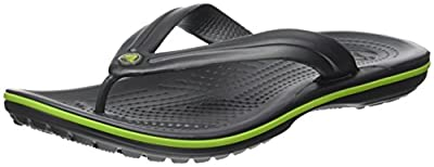 Crocs unisex-adult Crocband Flip Flop,Graphite/Volt Green,15 US Women / 13 US Men