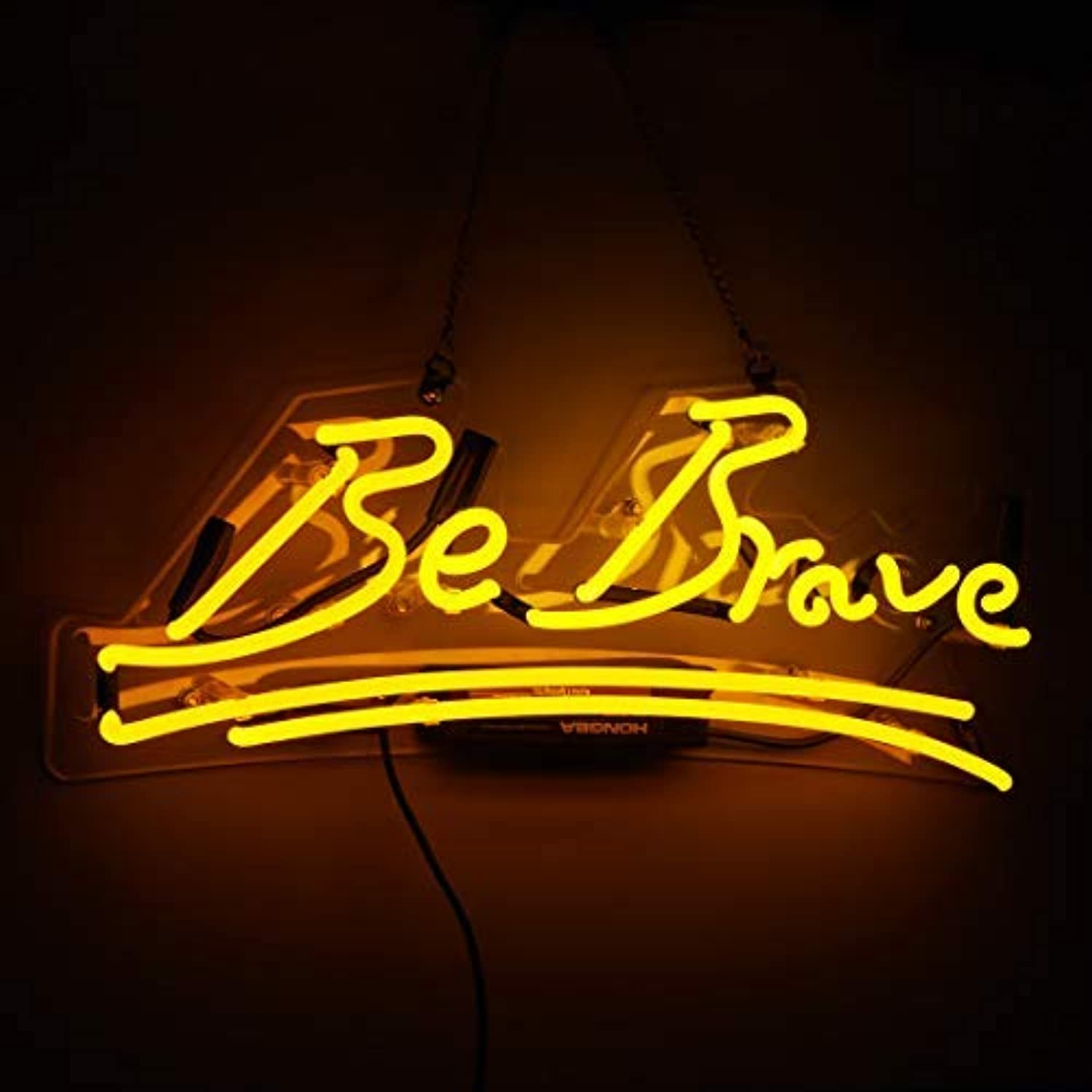 Neon Sign Be Brave Shaped Neon Light Handmade Glass Yellow Office Sign for Home Bedroom Wall Decor Night Light 17  x 7