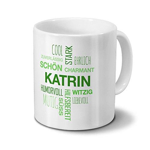 printplanet Tasse mit Namen Katrin Positive Eigenschaften Tagcloud - Grün - Namenstasse, Kaffeebecher, Mug, Becher, Kaffeetasse