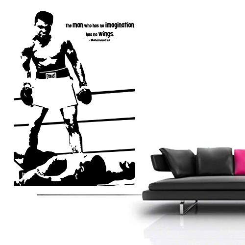 HNXCWR123 Boxing Ali Vinyl Sticker Legend Gym Studio Wall Art Decal Boy Bedroom Decoration Wallpaper Murals 42x60cm No.1 black