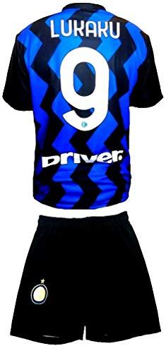 Completo Lukaku Inter Ufficiale 2020-21 Bambino Uomo Adulto Maglia + Pantaloncini Pantaloncino Completino Romelu 9 Home (8 Anni)