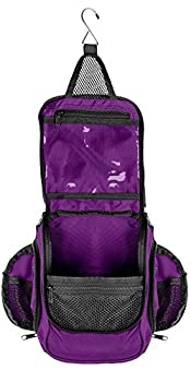 Compact Hanging Toiletry Bag and Organizer Water Resistant with Mesh Pockets  Eggplant