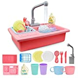 YCSD Play Kitchen Sink Toys Automatic Water Cycle System Children's Dishwasher Toy Automatic Electric Kitchen Set (Rosa)