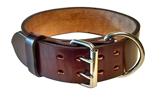 Pitbull & Large Breeds Leather Dog Collar - Free Personalization - Pet Training (Mahogany, 2' Width...