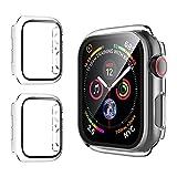 opamoo [2 Pièces] Coque Protection Écran pour Apple Watch Serie 6/SE/5/4-44mm, PC Coque en Verre...