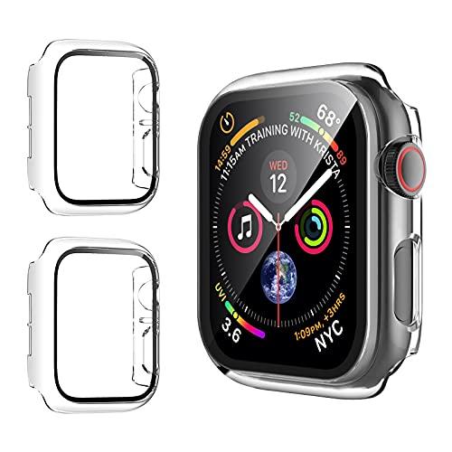 opamoo [2 Stück] Hülle mit Panzerglas Kompatibel mit Apple Watch Series SE/6/5/4-44mm, Hard PC Gehäuse mit Hartglas Displayschutz, All-Around Schutzhülle Ultradünne Schutz Case für iWatch Series 44mm