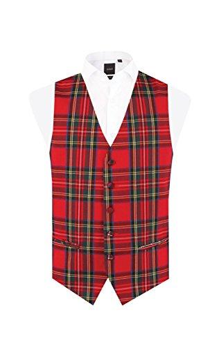 Dobell Mens Red Tartan Vest Regular Fit 5 Button Waistcoat-M (38-40in)